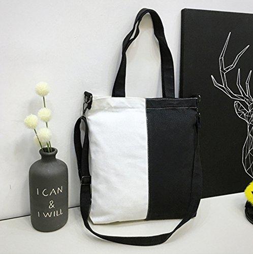 Shoulder Hobo Handbag ZIIPOR Bag Canvas Bag Casual Black Bag Crossbody Women wqw8OF