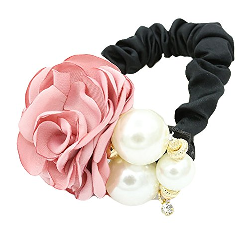 Make Satin Ribbon Roses - Pop Your Dream Fashion Women Ponytail Holder Satin Ribbon Rose Flower Pearls Hairband Hair Accessory (Pink)