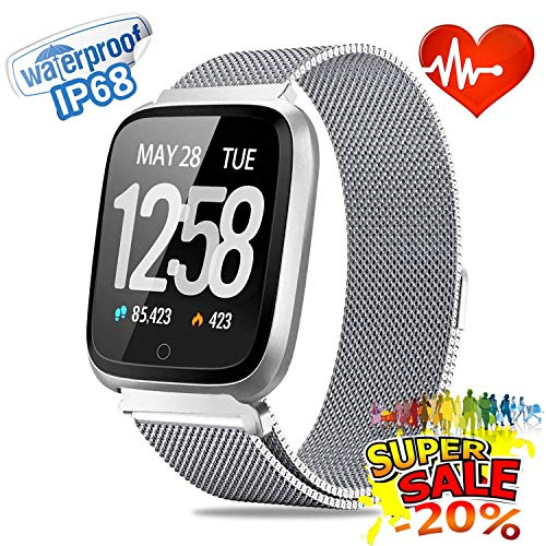 Smart Watch | [Big Reduction] Waterproof Fitness Tracker Sport Watch |【Stainless Steel】 Men Women Wrist Watch | Heart Rate Blood Oxygen Monitor | Outdoor Running GPS Watch & Activity Tracker (Silver)