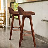 Beyonds Bar Stools, Solid Wood Bar Chairs Set of 2, Modern Elegant Revolving Dining Stools Chairs for Kitchen Breakfast Island Counter Office, Softness Linen Exterior/Solid Wood Frame
