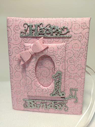 Happy 1st Birthday Pink Swirl Fabric Photo Album for Baby Girl - Perfect Gift! Holds 100 4x6 Photos - Handmade
