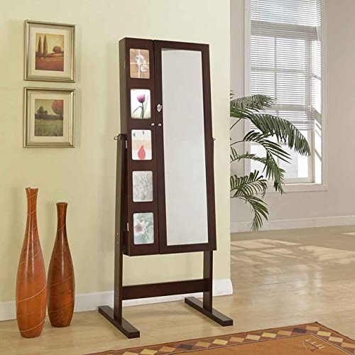 Artiva USA Free-Standing Cheval Mirror and Jewelry Armoire Double Door Display Stand with Photo Frame and Key Lock, 62.5
