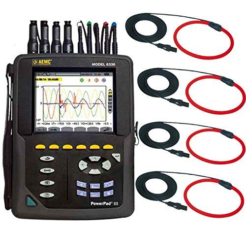AEMC 8336 W 4 x 193-24-BK PowerPad III Thee-Phase Power Quality Meter w/ 4x 193-24, (#2136.31) by AEMC