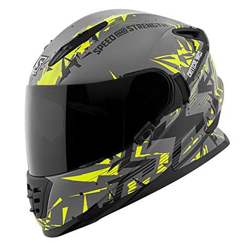 - Speed and Strength Unisex Adult Critical Mass Gray/Hi-Viz/Black Full Face Helmet 880312