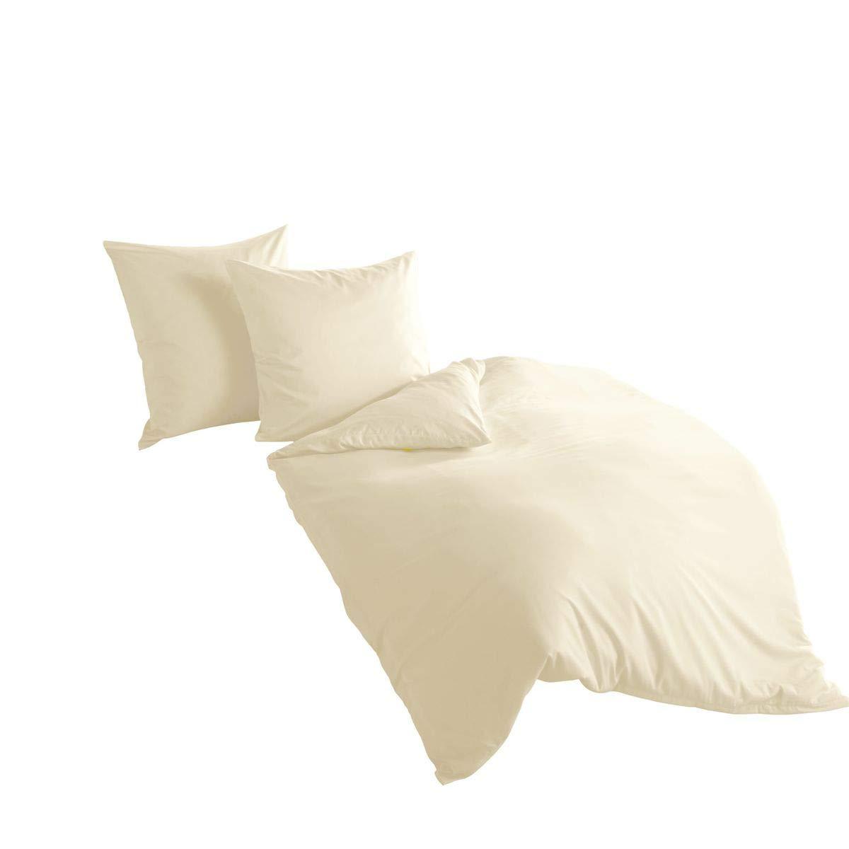 Bierbaum hochwertige Uni Fein Biber Bettwäsche 3 tlg. 240x220cm einfarbig Leinen 100% Baumwolle