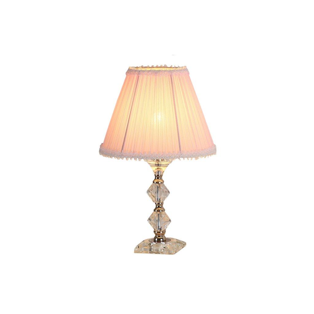 Briskaari Store- Modern Crystal Lamp Lighting Bedroom Bedside Lamp Luxury Crystal Desk Lamp with Cloth Lamp Shade (Color : Pink)