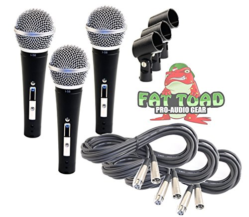 Dynamic Vocal Microphones with XLR Mic Cables & Clips (3 Pack) by Fat Toad|Cardioid Handheld, Unidirectional for Studio Recording, Live Stage Singing, DJ, Karaoke|Pro Audio 20ft Mic Cords, 3-Pin Wire