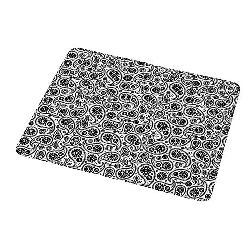 Gaming Mouse Pad Paisley,Sixties Themed Design with Floral Geometrical Details Circle Backgrounded,Black and White,Custom Non-Slip Mouse Mat 9.8