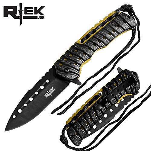 Fluted Liner (R-Tek RT110373 Partial-Paracord Handle High Performance Spring Assisted Folding Knife With Fluted Blade 10 colors Blue, Black, Red, Gold, Camo, Purple, Orange, Silver, Snow, Tree (Black/Gold))