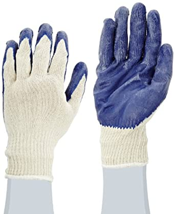 West Chester 30708 Polyester Cotton Latex Coated Palm and Fingertips Glove, Large, Blue (Pack of 1 Pair)