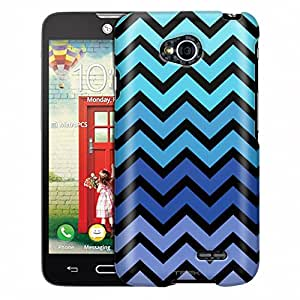 LG Realm Case, Slim Fit Snap On Cover by Trek Chevron Teal Blue Black Case