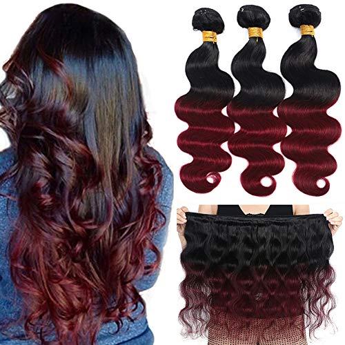 Ombre Brazilian Hair Body Wave Bundles 3pcs,Ombre Brazilian Virgin Hair Human Hair Weave Two Tone Black to Burgundy (T1B/99J,14