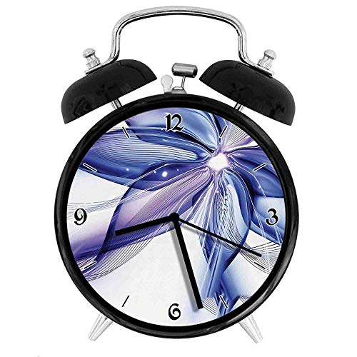 one-six-one Geometrical Smoke Like Striped Huge Flower Floral Design Work of Art, Blue White and Purple Twin Bell Alarm Clock with Backlight,Desk Table Clock for Home and Office 4in - Black