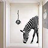 Zebra Wall Decal - Wildlife Wall Stickers - Black and White Wall Decor - Vinyl Wall Decals Animals – Peel and Stick by Dooboe