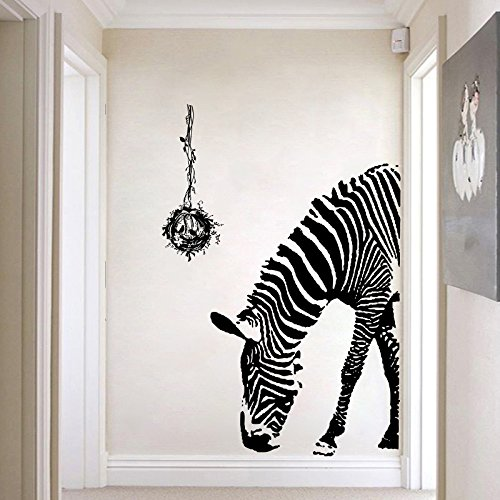 Zebra Wall Decal - Wildlife Wall Stickers - Black and White Wall Decor - Vinyl Wall Decals Animals  Peel and Stick