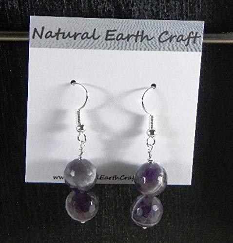 - MOCKE Dark Purple Faceted Amethyst Earrings Double Rounds semiprecious Stone Jewelry Gemstone February Birthstone Packaged in a Gift Bag 2879