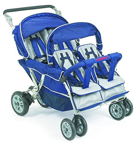 Angeles Infant Toddler SureStop Folding Commercial Bye-Bye Stroller (4-Passenger) -