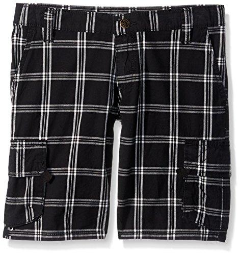 (Wrangler Authentics Boys Fashion Plaid Cargo Short, Black, 12)
