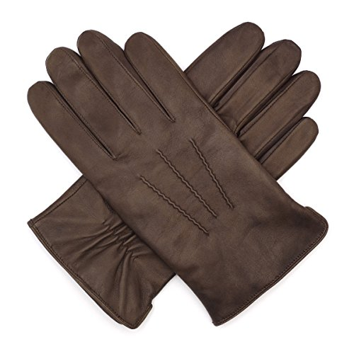 Harssidanzar Mens Luxury Italian Sheepskin Leather Gloves Cashmere Lined, Brown, L