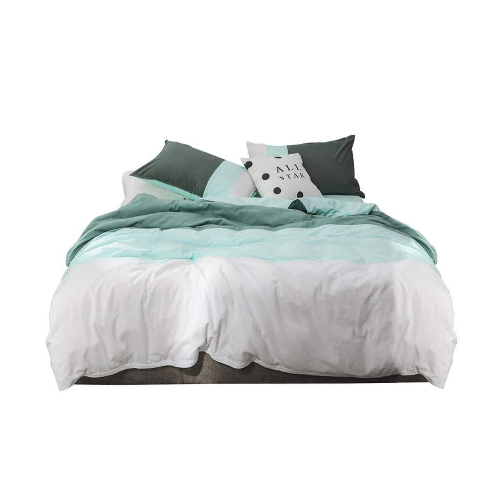 Tcaijing 寝具セット4ピースセット綿100%洗った綿2枕カバー1キルトカバー1枚のシート4サイズオプション5色オプションの家の寝室の誕生日プレゼント (色 : 緑, サイズ さいず : 1.5m) B07Q27K9GM 緑 1.5m