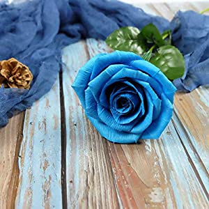 Turquoise Blue Paper Rose Unique Anniversary Gift For Her Handmade Crepe Paper Flowers for Valentine Birthday Mother Day, Single Long Stem Real Looking, 01 Flower 113