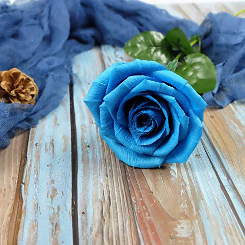 - Turquoise Blue Paper Rose Unique Anniversary Gift For Her Handmade Crepe Paper Flowers for Valentine Birthday Mother Day, Single Long Stem Real Looking, 01 Flower