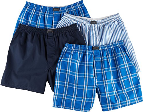 Jockey Men's Active Blend Woven Boxer 4-Pack Blue Plaid/Best Navy/Blue Stripe/Blue Plaid ()