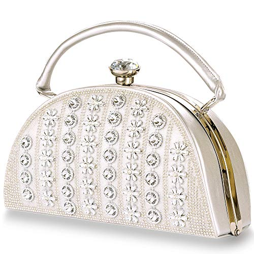 Womans Vintage Evening Clutch Bag Wedding Gold/Sivler Purses Bridal Prom Handbag Party Bags Metal Frame Hard Case (Silver 3) - Evening Hard Clutch Purse Handbag