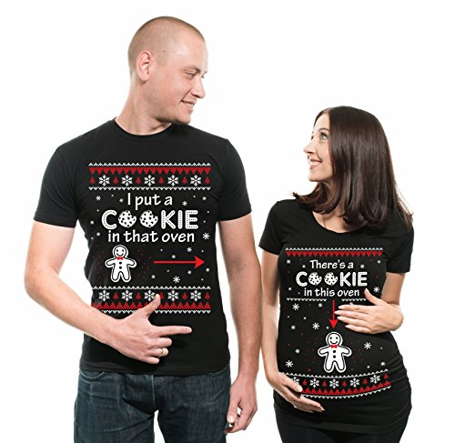 Silk Road Tees Christmas Couple Matching Maternity Tees Pregnancy Shirt There is a Cookie in That Oven Maternity Tee Shirt Gift Tee Men Medium - Women Large