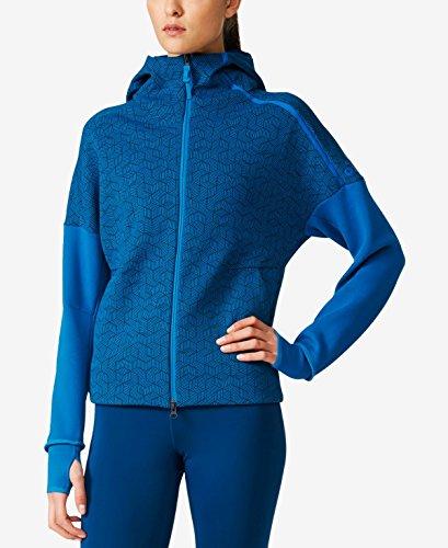 Adidas Women's Zne Printed Zip Hoodie (Medium, Unity Blue)