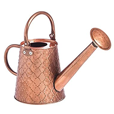Evergreen Antique Copper Quatrefoil Pattern Watering Can, 1.8 liters