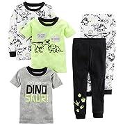 Carter's Boys' 5-Piece Cotton Snug-Fit Pajamas, Dino, 6 Months