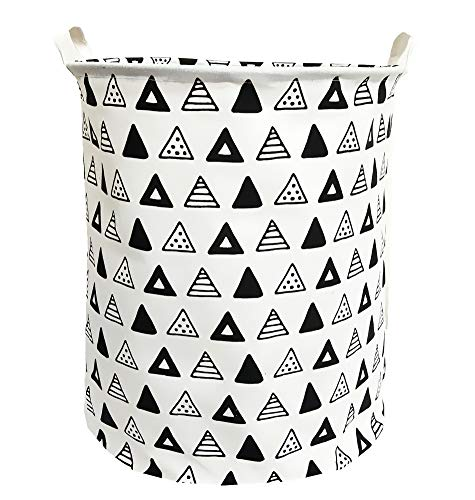 TIBAOLOVER 19.7Large Sized Waterproof Foldable Laundry Hamper Bucket,Dirty Clothes Laundry Basket, Bin Storage Organizer for Toy Collection,Canvas Storage Basket with Stylish Design(Black Triangle)