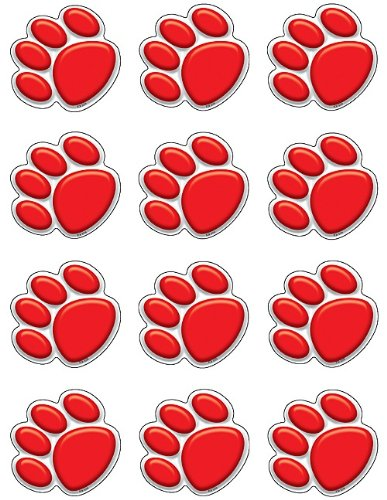 Teacher Created Resources Mini Accents, Red Paw Prints (5119) -