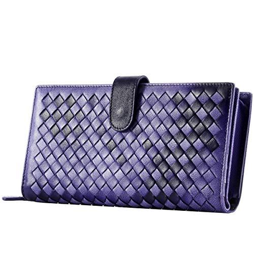 Womens Genuine Leather Lambskin Woven Bifold Zipper Long Wallet Clutch Purse