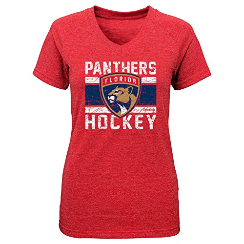 fan products of NHL Florida Panthers Girls Iced Lines V-Neck Short Sleeve Tee, X-Large/(16), Red