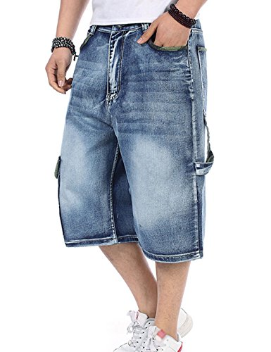 Yeokou Men's Loose Hip Hop Cropped Jeans Work Denim Shorts with Cargo Pockets