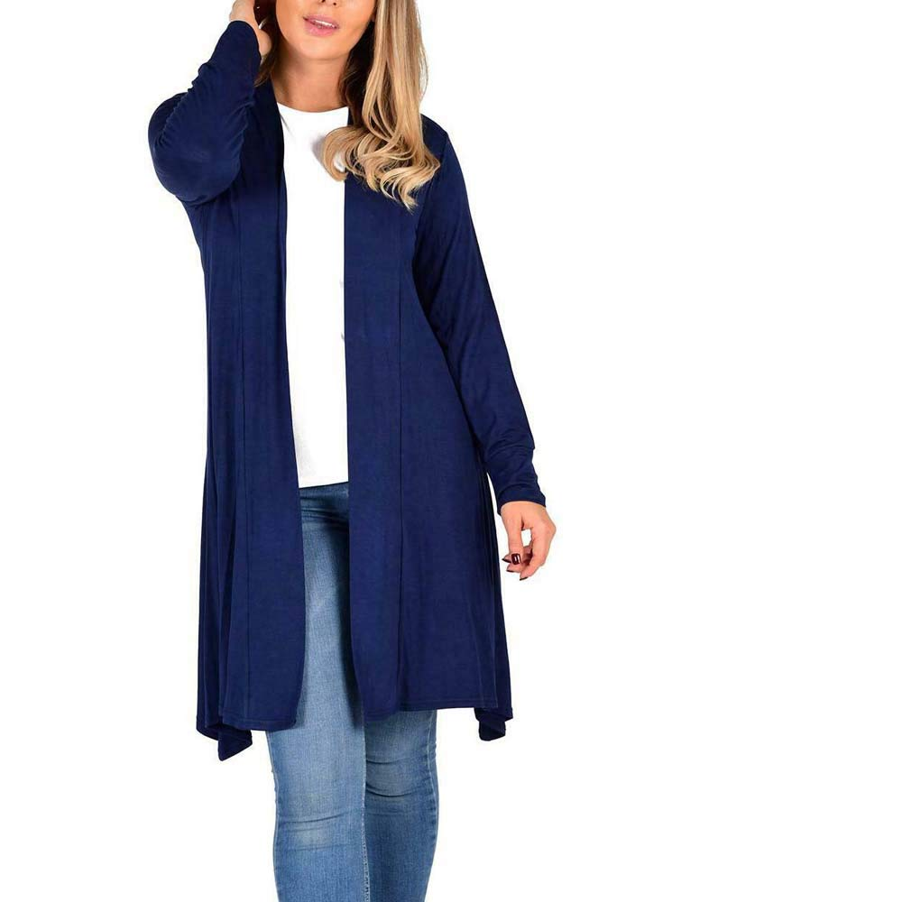 Womens Ladies 3//4 Length Jersey Fabric Open Front Long Sleeve Cardigan