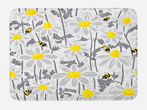 Ambesonne Grey Bath Mat, Daisy Flowers with Bees in Spring Time Honey Petals Floret Nature Purity Blooming, Plush Bathroom Decor Mat with Non Slip Backing, 29.5
