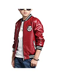 Monvecle Boy's Trendy Stand-Collar PU Leather Moto Jacket Coat