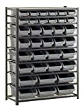 Sandusky Lee UR4416BIN36 Black Zinc Steel Bin Shelving Unit with 36 Storage Bin, 57'' Height x 44'' Width x 16'' Depth