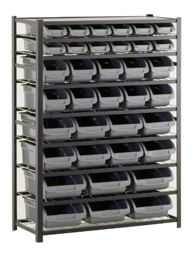 (Sandusky Lee UR4416BIN36 Black Zinc Steel Bin Shelving Unit with 36 Storage Bin, 57
