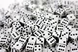 "Custom & Unique {Mini Small 3/16"" 5mm} 50 Ct Wholesale Bulk Lot Pack of 6 Sided [D6] Square Cube Shape Playing & Game Dice Made of Plastic w/ Classy Simple Standard Design [White & Black Colored]"
