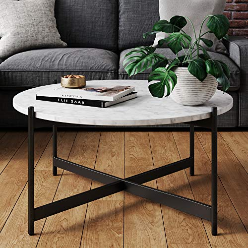 Nathan James Piper Faux Marble Round Modern Living Room Coffee Table with Brass Metal Frame, Black (Small Coffee Table Round)