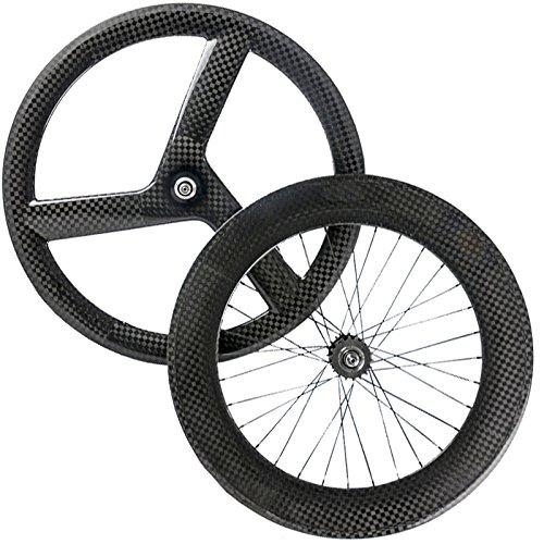 Wilee 自転車用フロント 3スポーク リア88mm カーボンホイールセット クリンチャー ティールスポーク 12K 光沢固定自転車ホイール   B073XYDQQ2