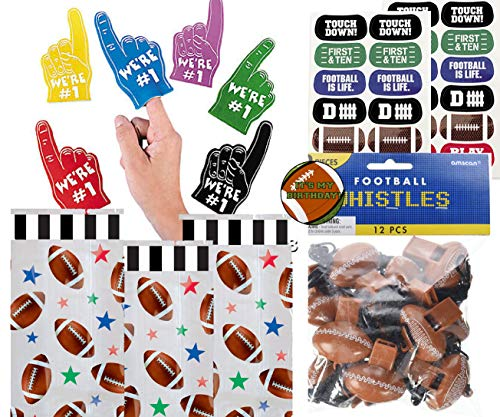 Football Party Favors for 12 - Foam Mini Fingers We're #1 (12), Football Whistles (12), Football Face Tattoos (12 Sheets), Football Theme Treat Bags and a Football Birthday Sticker (Clear -