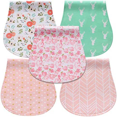 Baby Burp Cloths for Girls 100% Organic Cotton Absorbent Burp Rags, 5-Pack
