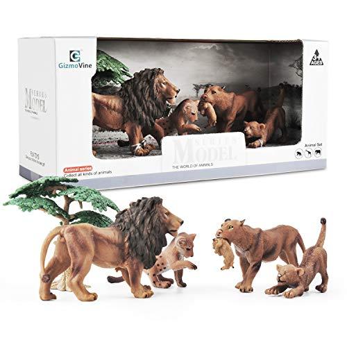 Gizmovine Jumbo Realistic Animals Lion Family Playset Wild Safari Jungle Animal Figurines Learning Educational Toy Forest Farm Playset for Kids Toddler Boys and Girls (Stuffed Animal Lion Family)