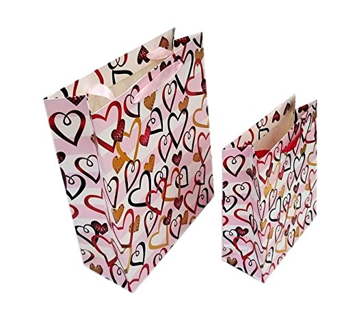 Sophia Set Of 2 Gift Bags With Multicolor Hearts Decorated With Glitter, Small And Medium Size (Metallic Hearts - Decorated Heart