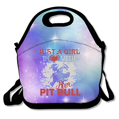 Titan's Mother Just A Girl In Love With Her Pitbull Lunch Bags For Man And (Pit Bull Girl)